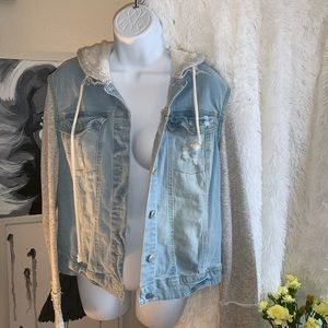 Mossimo distressed denim jean jacket size XXL